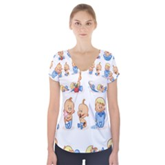 Cute Baby Picture Funny Short Sleeve Front Detail Top