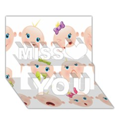 Cute Baby Picture Miss You 3d Greeting Card (7x5)