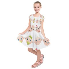 Cute Baby Picture Kids  Short Sleeve Dress
