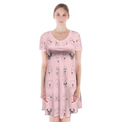Dog Pink Short Sleeve V Neck Flare Dress