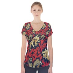 Dragon Short Sleeve Front Detail Top