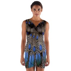 Feathers Peacock Light Wrap Front Bodycon Dress