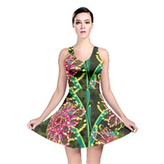 Flowers Abstract Decoration  Reversible Skater Dress