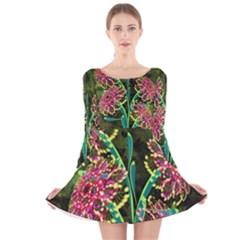 Flowers Abstract Decoration  Long Sleeve Velvet Skater Dress