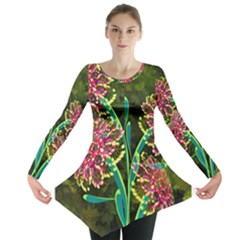 Flowers Abstract Decoration  Long Sleeve Tunic