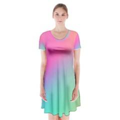 Pink Blue Short Sleeve V-neck Flare Dress