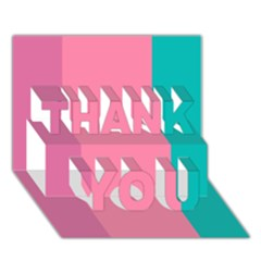 Pink Blue Three Color Thank You 3d Greeting Card (7x5)