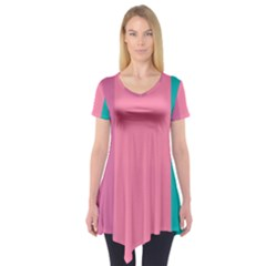 Pink Blue Three Color Short Sleeve Tunic