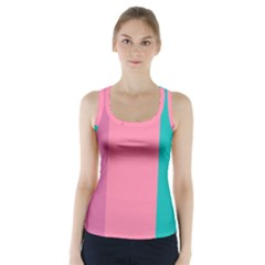 Pink Blue Three Color Racer Back Sports Top