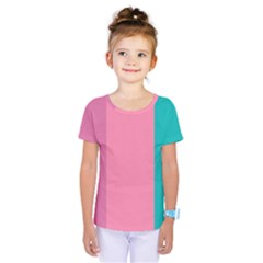 Pink Blue Three Color Kids  One Piece Tee