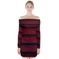 Line Red Black Long Sleeve Off Shoulder Dress