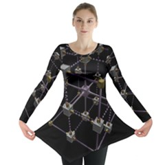 Grid Construction Structure Metal Long Sleeve Tunic