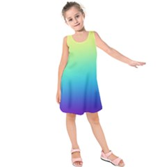 Purple Blue Green Kids  Sleeveless Dress