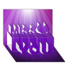 Purple Colors Fullcolor Miss You 3d Greeting Card (7x5)