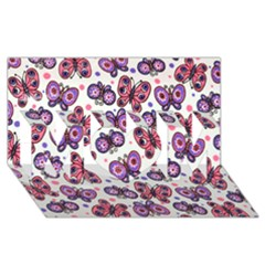 Pink Purple Butterfly Mom 3d Greeting Card (8x4)