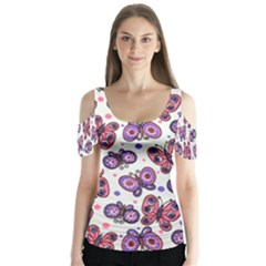 Pink Purple Butterfly Butterfly Sleeve Cutout Tee