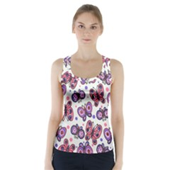 Pink Purple Butterfly Racer Back Sports Top