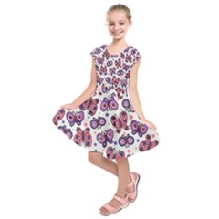 Pink Purple Butterfly Kids  Short Sleeve Dress