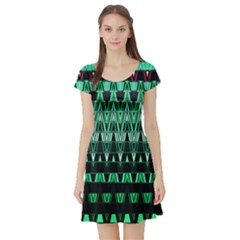Green Triangle Patterns Short Sleeve Skater Dress