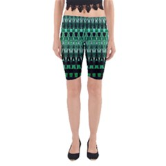 Green Triangle Patterns Yoga Cropped Leggings
