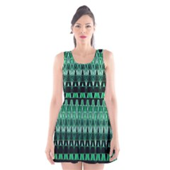 Green Triangle Patterns Scoop Neck Skater Dress