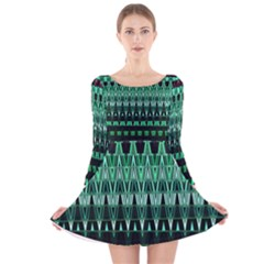 Green Triangle Patterns Long Sleeve Velvet Skater Dress