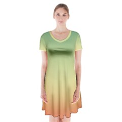 Smooth Gaussian Short Sleeve V-neck Flare Dress