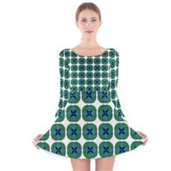 Geometric Patterns Long Sleeve Velvet Skater Dress