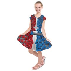 Red Boxing Gloves And A Competing Kids  Short Sleeve Dress