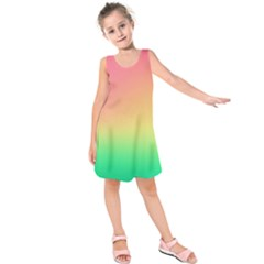 The Walls Pink Green Yellow Kids  Sleeveless Dress