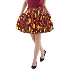 Wine Glass Drink Party A-Line Pocket Skirt