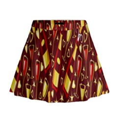 Wine Glass Drink Party Mini Flare Skirt