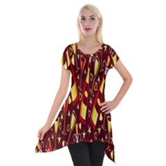 Wine Glass Drink Party Short Sleeve Side Drop Tunic