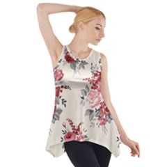 Rose Beauty Flora Side Drop Tank Tunic