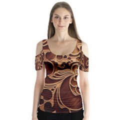 Tekstura Twigs Chocolate Color Butterfly Sleeve Cutout Tee
