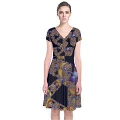 Machine Gear Mechanical Technology Short Sleeve Front Wrap Dress