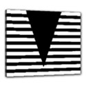 Black & White Stripes Big Triangle Canvas 24  x 20  View1