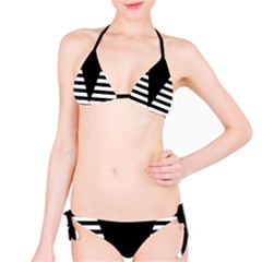 Black & White Stripes Big Triangle Bikini Set