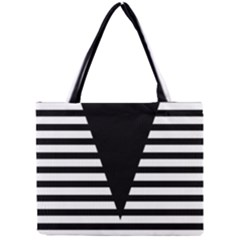 Black & White Stripes Big Triangle Mini Tote Bag