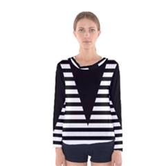 Black & White Stripes Big Triangle Women s Long Sleeve Tee