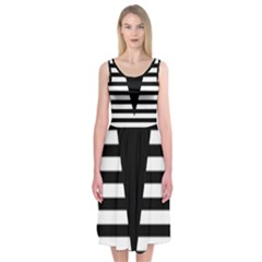 Black & White Stripes Big Triangle Midi Sleeveless Dress
