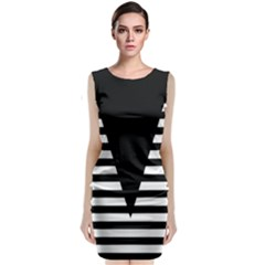 Black & White Stripes Big Triangle Classic Sleeveless Midi Dress