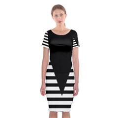Black & White Stripes Big Triangle Classic Short Sleeve Midi Dress