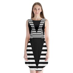 Black & White Stripes Big Triangle Sleeveless Chiffon Dress