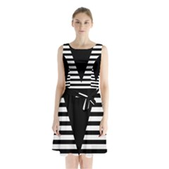 Black & White Stripes Big Triangle Sleeveless Chiffon Waist Tie Dress