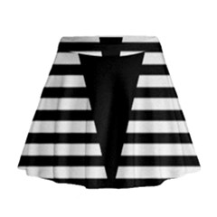 Black & White Stripes Big Triangle Mini Flare Skirt