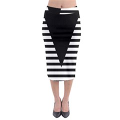 Black & White Stripes Big Triangle Midi Pencil Skirt