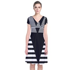 Black & White Stripes Big Triangle Short Sleeve Front Wrap Dress