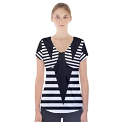 Black & White Stripes Big Triangle Short Sleeve Front Detail Top