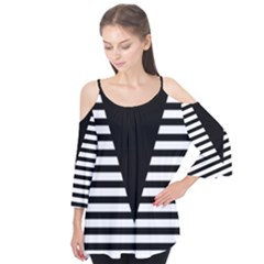 Black & White Stripes Big Triangle Flutter Tees